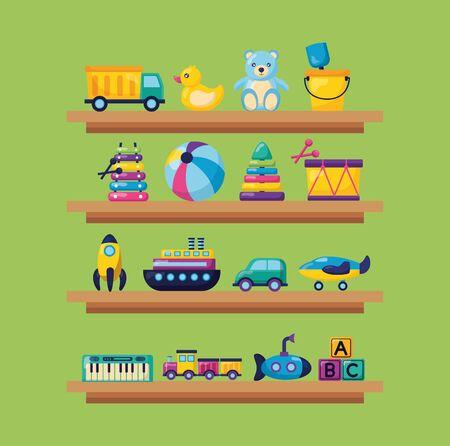 kids toys wooden shelf truck duck bear ball drum car plane train cubes vector illustration