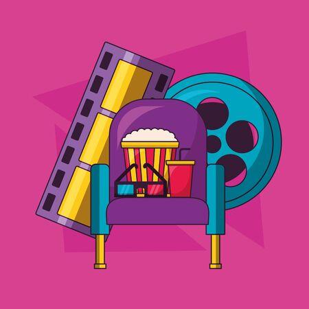 seat pop corn soda 3d glasses reel strip film cinema movie vector illustration