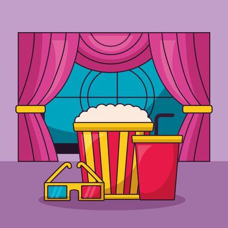 cinema movie pop corn soda glasses screen curtains vector illustration
