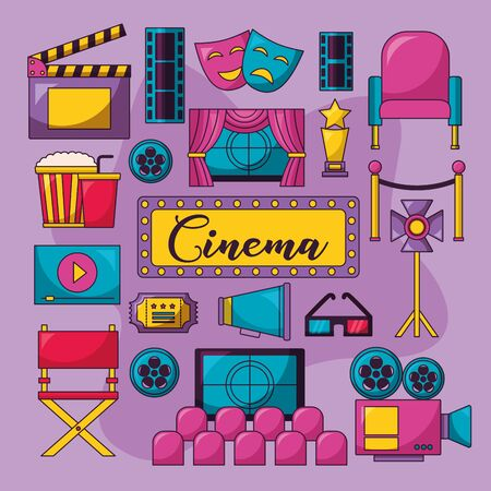 cinema movie collction billboard glasses speaker masks ticket chair screen vector illustration Illustration
