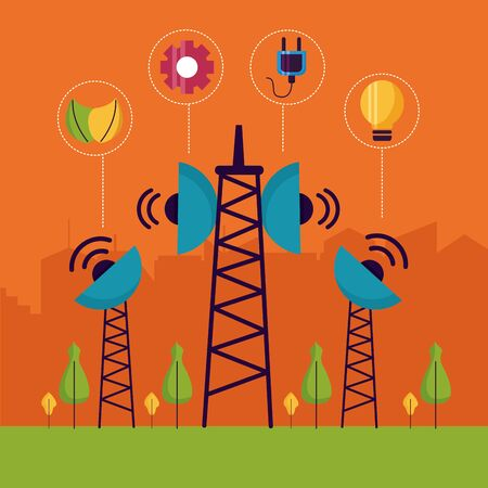 renewable energy communication services digital smart city vector illustration 向量圖像