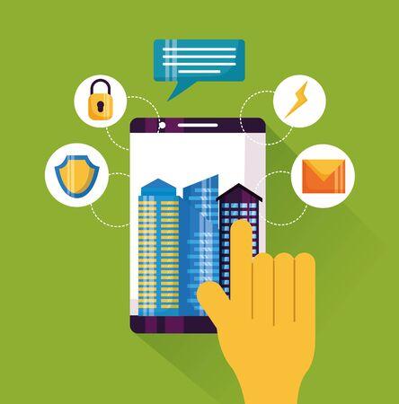 Smartphone main touchant l'application de service smart city vector illustration