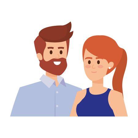 Adultos padres pareja avatares personajes, diseño de ilustraciones vectoriales Ilustración de vector