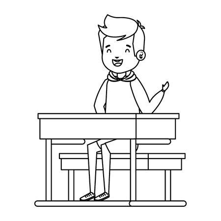 happy little student boy seated in school desk vector illustration design Archivio Fotografico - 125805794