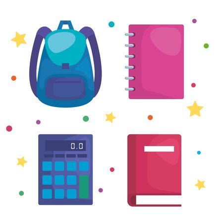 set of backpack with calculator and notebook with book over white background vector illustration