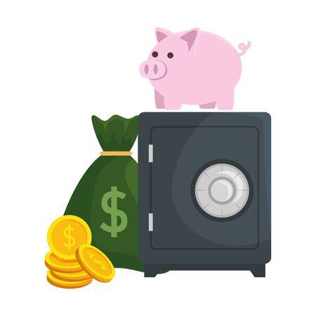 Caja de seguridad con alcancía y dinero, diseño de ilustraciones vectoriales