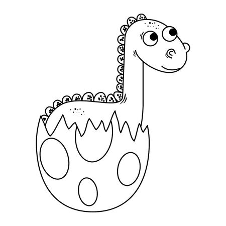 newborn diplodocus breaking the shell vector illustration design