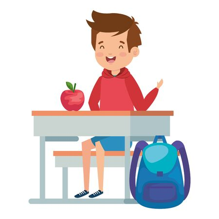 student boy seated in school desk with apple and bag vector illustration design