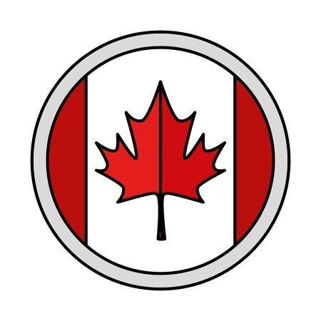 maple leaf canadian button vector illustration design