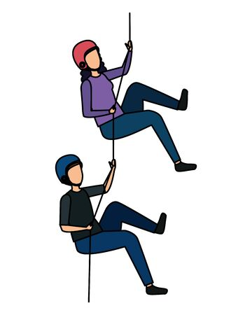 young couple climbing with ropes characters vector illustration design Illustration
