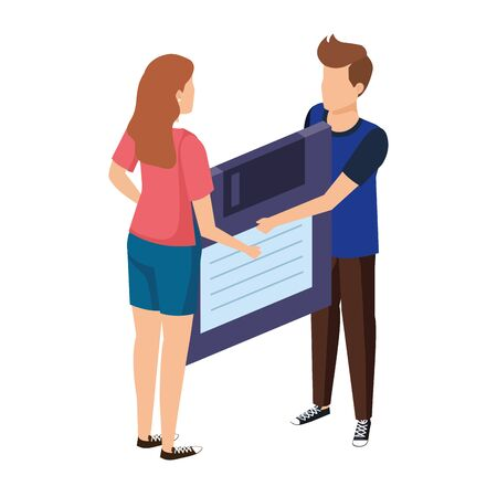 young couple lifting floppy disk data storage vector illustration design