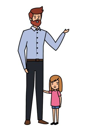 adult father with beard and daughter vector illustration design