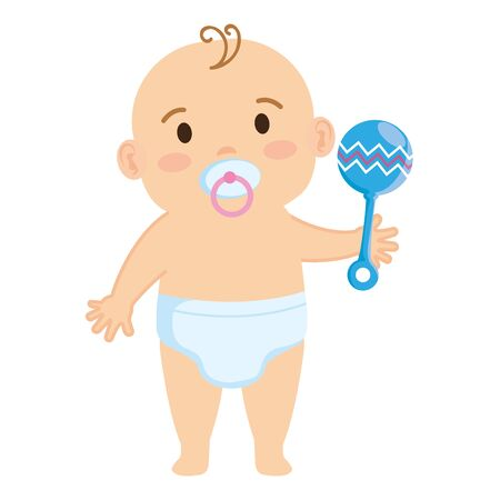 cute little baby boy with pacifier and bell character vector illustration design