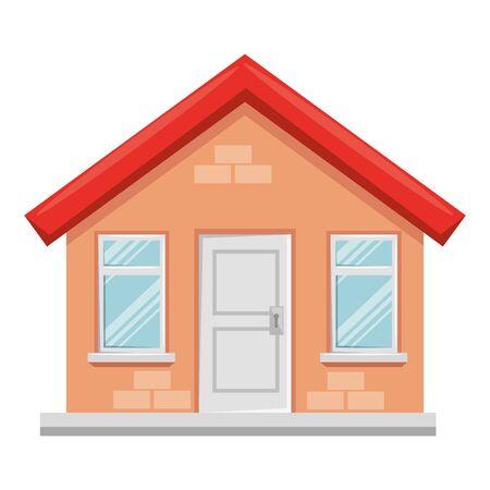 costruzione casa facciata icona isolata illustrazione vettoriale design Vettoriali