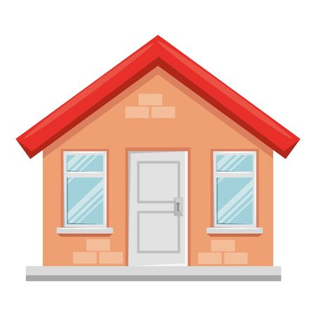 Diseño de ilustración de vector de icono aislado de fachada de edificio de casa Ilustración de vector