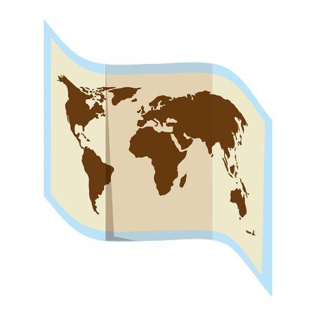 world map paper guide icon vector illustration design Çizim