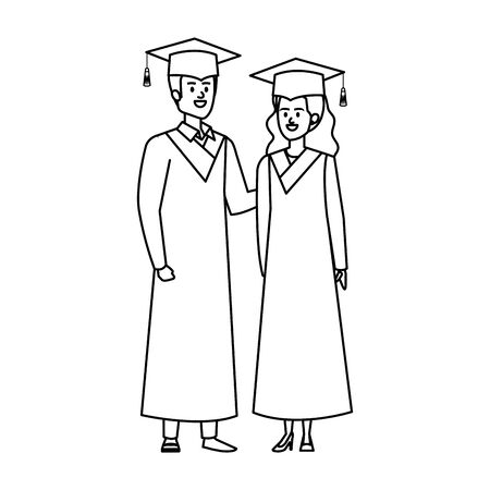 young couple students graduated characters vector illustration design