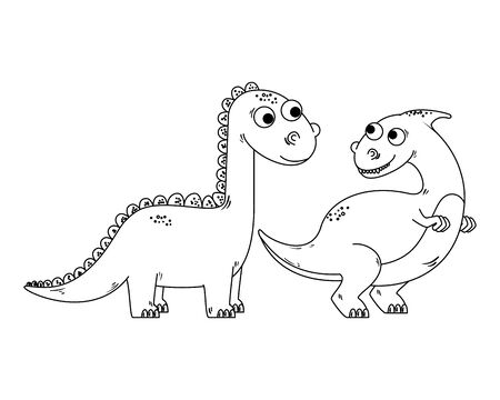 cute diplodocus couple comic characters vector illustration design