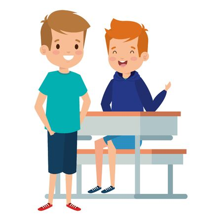 happy little students boys seated in school desk vector illustration design Ilustração