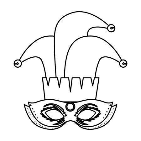 carnival mask with joker hat vector illustration design Illustration