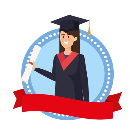 young woman student graduated in emblem with ribbon vector illustration design  イラスト・ベクター素材