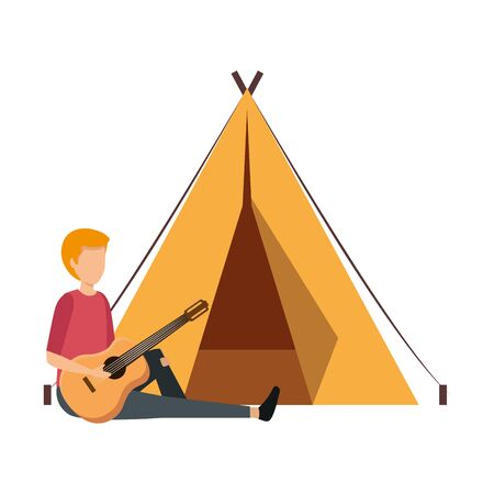 young man playing guitar with camping tent vector illustration design