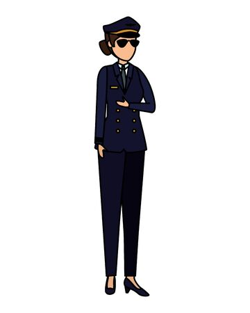 female aviation pilot avatar character vector illustration design Banque d'images - 125840045