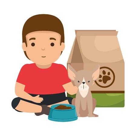 cute little boy with dog and food bag vector illustration design