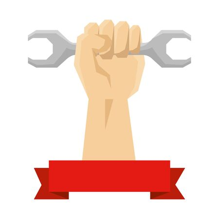 hand with wrench key tool icon vector illustration design Ilustrace