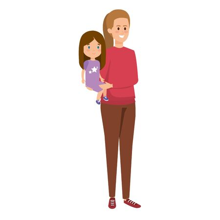 young mother with little daughter vector illustration design Standard-Bild - 125885076