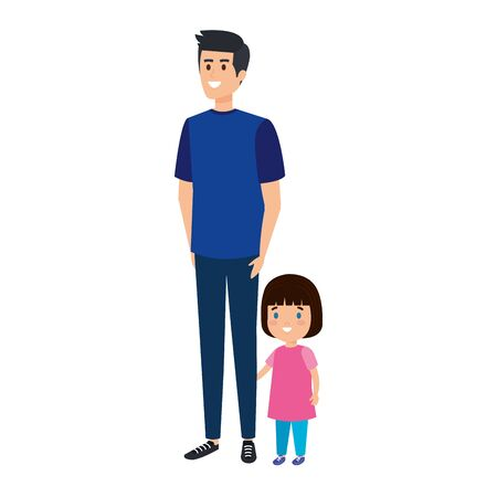 father with daughter characters vector illustration design Ilustrace