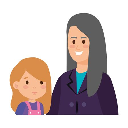 cute grandmother with grandaughter vector illustration design
