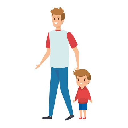 young father with son characters vector illustration design  イラスト・ベクター素材