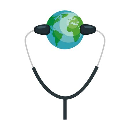 earth planet with stethoscope cardio device vector illustration design