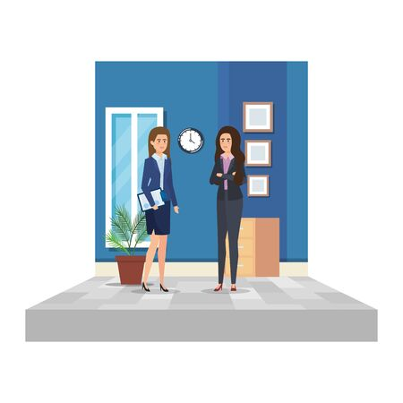 elegant businesswomen in the office scene vector illustration design