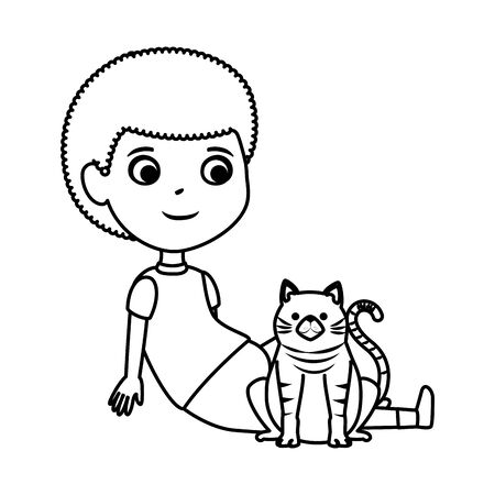 cute little boy with kitty vector illustration design Illusztráció