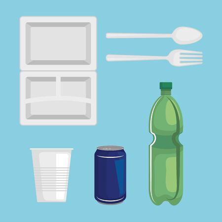 set of toxic plastic plate with bottles and cups waste vector illustration Illusztráció