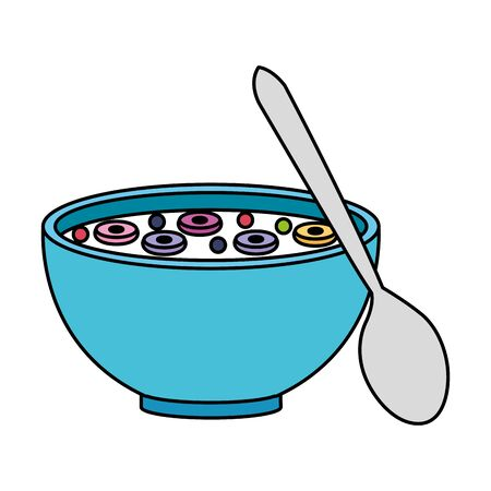 cereal dish with spoon vector illustration design Banque d'images - 125983225