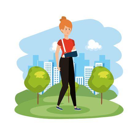 donna con braccio intonacato illustrazione vettoriale design