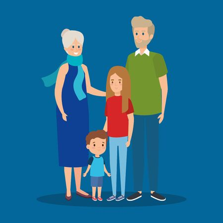 happy grandparents together with girl and boy vector illustration
