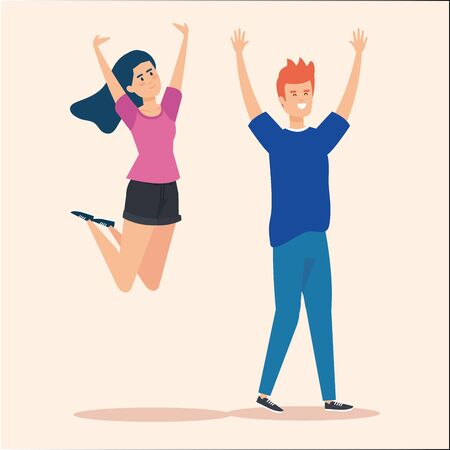 pretty girls jumping and boy with hairstyle vector illustration