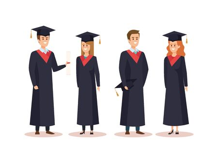 set of men and woman university graduation with rope vector illustration