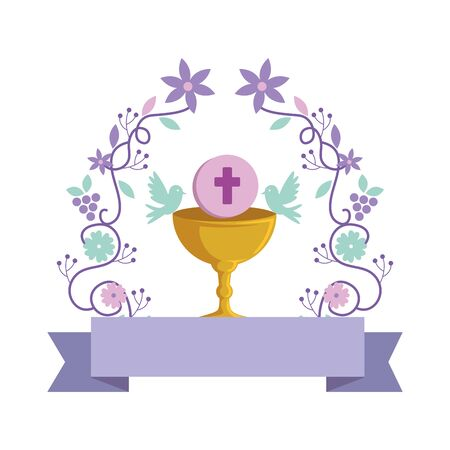 first communion in chalice with floral crown vector illustration design Illusztráció