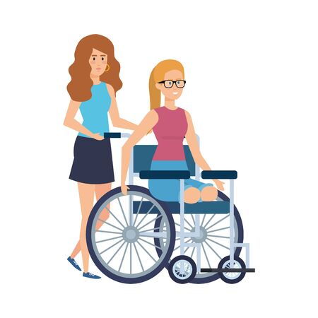 young woman in wheelchair with female helper vector illustration design Foto de archivo - 126015714