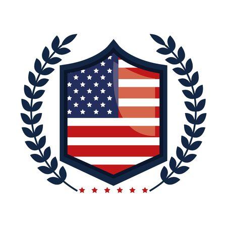 emblem with united states of america flag vector illustration design 일러스트