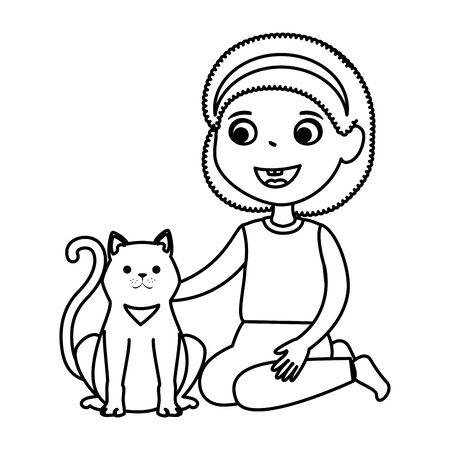 cute little girl with kitty vector illustration design