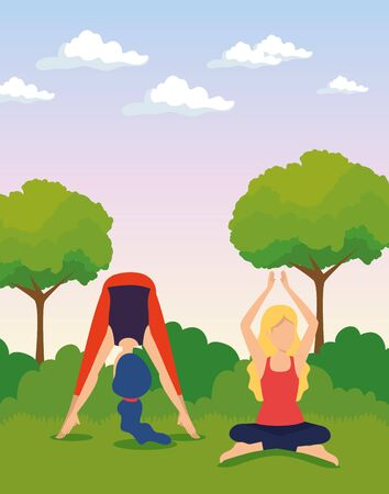 women doing yoga exercise with trees and bushes vector illustration