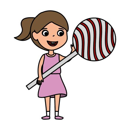 little girl with sweet lollipop candy vector illustration design Illusztráció
