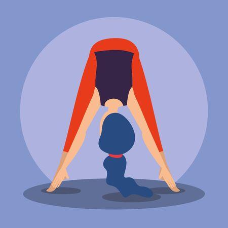 woman meditation with harmony body exercise vector illustration Ilustração