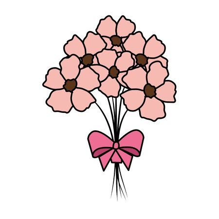 beutiful flowers bouquet with bowtie vector illustartion design